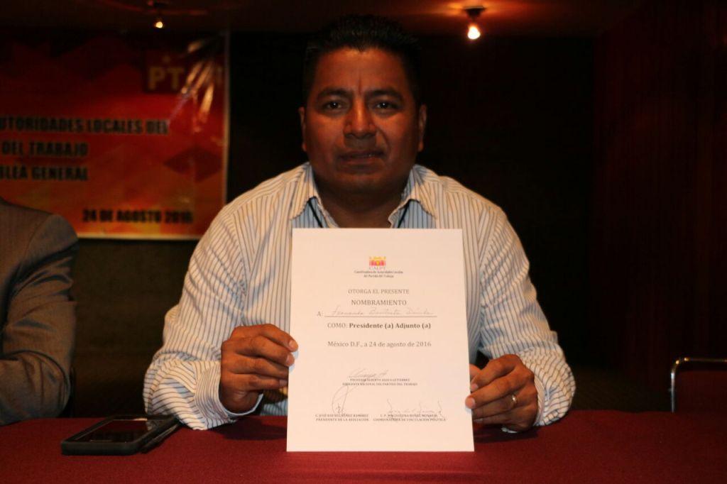 Nombran a Fernando Bautista Dávila Presidente adjunto de la Coordinadora de autoridades Locales del PT a nivel nacional