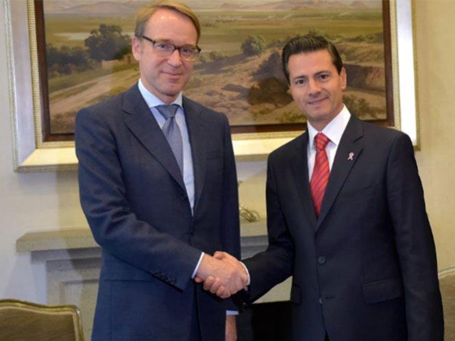 Peña Nieto recibe al presidente del Banco Central de Alemania