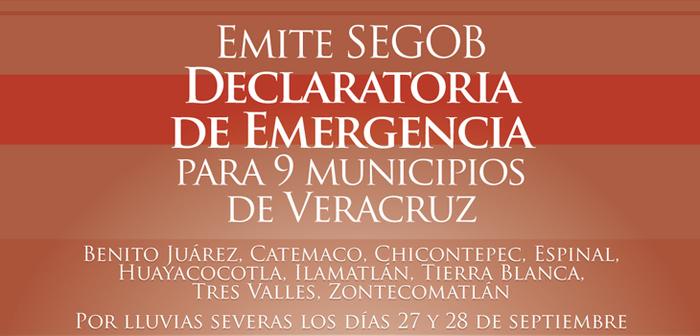 Declara SEGOB emergencia para 9 municipios de Veracruz por lluvias.