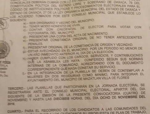 Emiten convocatoria para elección de edil en Mazatlán Villa de Flores