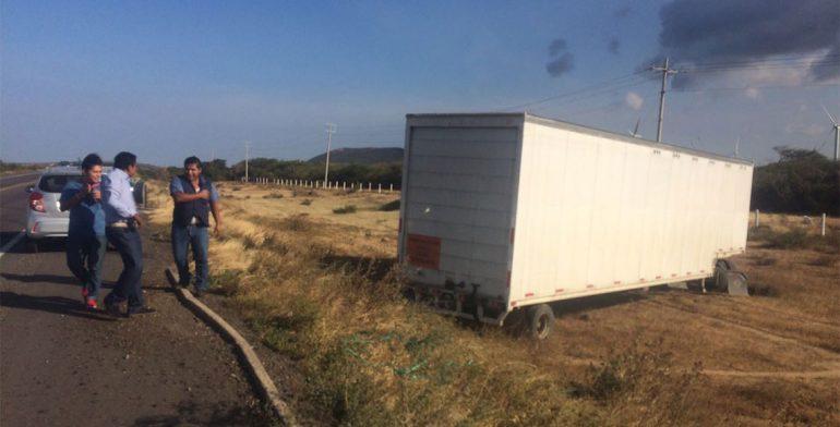 Deja un lesionado salida de camión de carga de carretera en La Ventosa