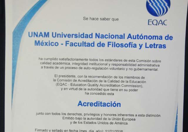 Certifican calidad académica de Facultad de Filosofía de la UNAM