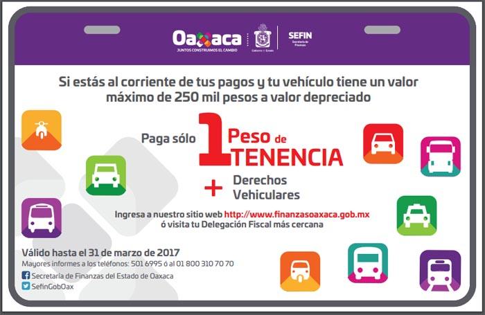 De enero a marzo paga 1 peso de tenencia más derechos vehiculares