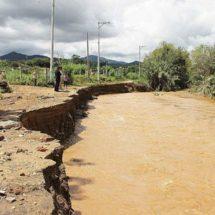 Tres ríos inundan a Huitzo, Oaxaca; agua arrasa con ganado y animales de corral