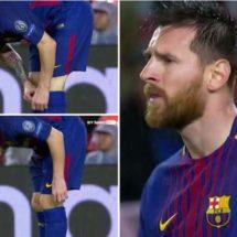 El momento en el que Messi toma una pastilla en pleno partido