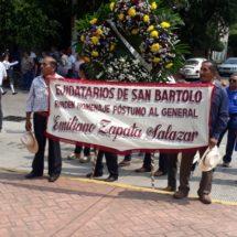 Comuneros de San Bartolo conmemoran el 99 aniversario luctuoso a Emiliano Zapata