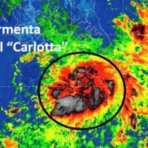 Este lunes Carlotta mantendrá tormentas en parte del país