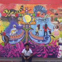 Estudiante del COBAO 03 elabora mural que narra la cultura y tradición de la Costa