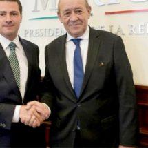 Peña Nieto recibe a ministro francés en Los Pinos