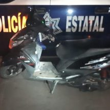 RECUPERA POLICÍA ESTATAL MOTOCICLETA CON REPORTE DE ROBO EN EJUTLA