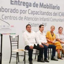 Entrega Icapet muebles al DIF estatal para equipamiento de los CAIC