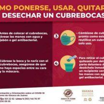Exhorta Ayuntamiento de Oaxaca de Juárez a desechar cubrebocas con responsabilidad