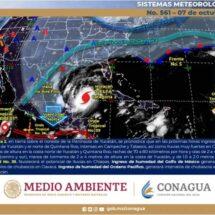 Al sureste del Golfo de Tehuantepec zona de baja presión con probabilidad para desarrollo ciclónico