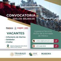 Oferta Secretaría de Marina más de 250 vacantes de empleo en el Istmo de Tehuantepec
